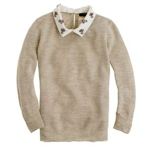 J. Crew Jewel-Collar Embellished Linen Sweater